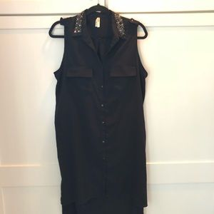 High low collard black dress rhinestone